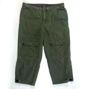 American Eagle Cargo Capri Pants Army Green Cotton